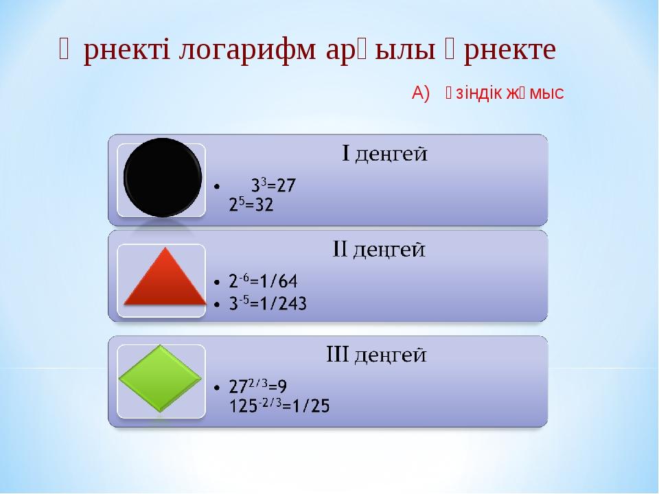 Өрнекті логарифм арқылы өрнекте А) өзіндік жұмыс