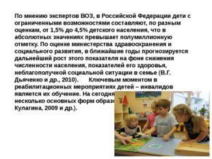 По мнению экспертов ВОЗ, в Российской Федерации дети c ограниченными возможно