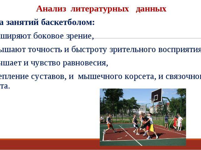 Анализ литературных данных Польза занятий баскетболом: расширяют боковое зрен...
