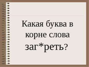 Какая буква в корне слова заг*реть?