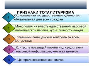 ПРИЗНАКИ ТОТАЛИТАРИЗМА Официальная государственная идеология, обязательная д