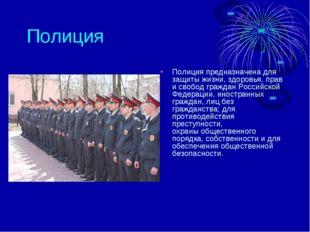 Полиция Полиция предназначена для защиты жизни, здоровья, прав и свобод гражд