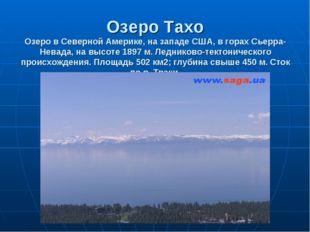 Озеро Тахо Озеро в Северной Америке, на западе США, в горах Сьерра-Невада, на