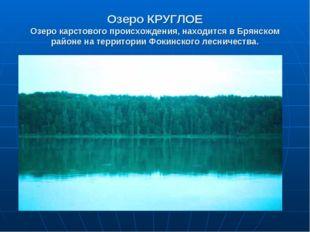 Озеро КРУГЛОЕ Озеро карстового происхождения, находится в Брянском районе на