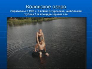 Воловское озеро Образовано в 1991 г. в пойме р.Туросенка, наибольшая глубина
