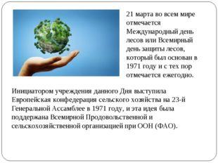 21 марта во всем мире отмечается Международный день лесов или Всемирный день