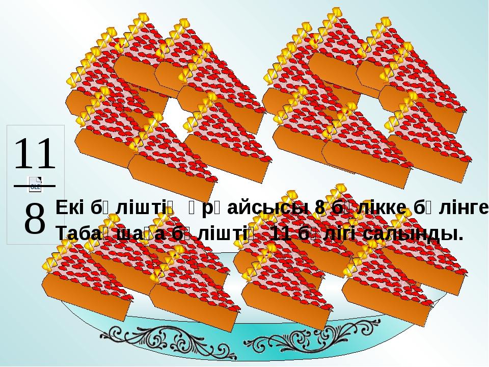 Екі бәліштің әрқайсысы 8 бөлікке бөлінген. Табақшаға бәліштің 11 бөлігі салын...