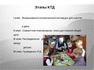 Этапы КТД I этап. Формирование положительной мотивации для участия в деле. II