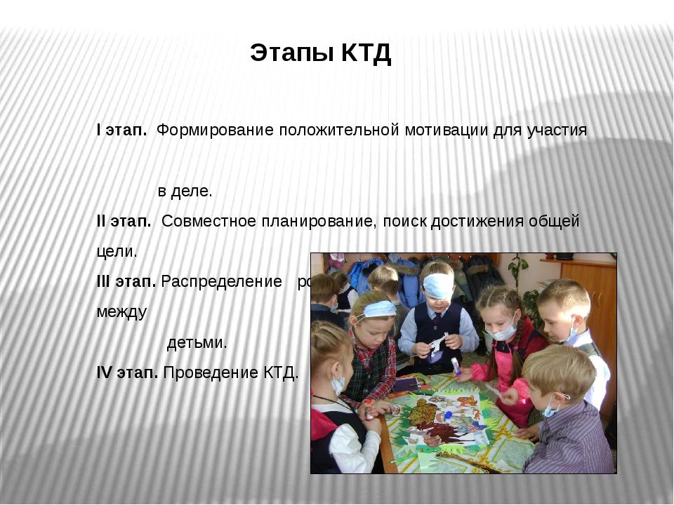 Этапы КТД I этап. Формирование положительной мотивации для участия в деле. II...