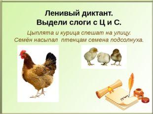 Цыплята и курица спешат на улицу. Семён насыпал птенцам семена подсолнуха. Л