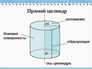 Прямой цилиндр основание образующая ось цилиндра боковая поверхность О О1