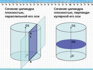 Сечение цилиндра плоскостью, параллельной его оси О О1 Сечение цилиндра плос