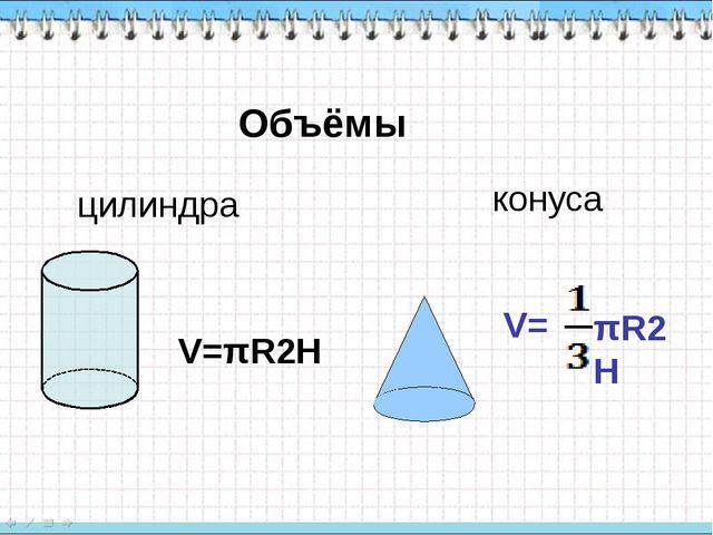 Объёмы цилиндра конуса V=πR2H πR2H V=
