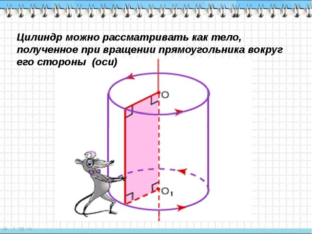 Цилиндр можно рассматривать как тело, полученное при вращении прямоугольника...