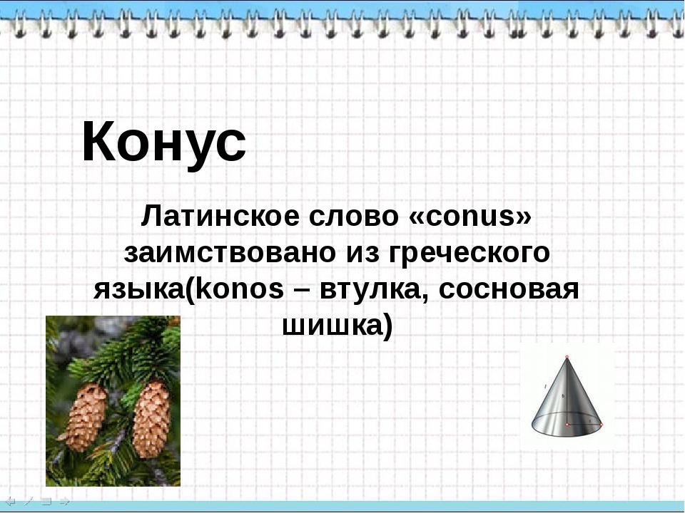 Конус Латинское слово «conus» заимствовано из греческого языка(konos – втулка...
