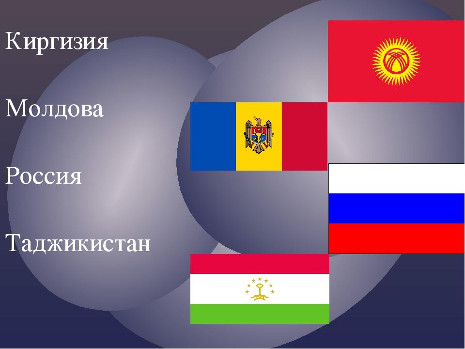 Киргизия Молдова Россия Таджикистан