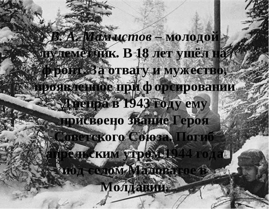 В. А. Мамистов – молодой пулемётчик. В 18 лет ушёл на фронт. За отвагу и муж...