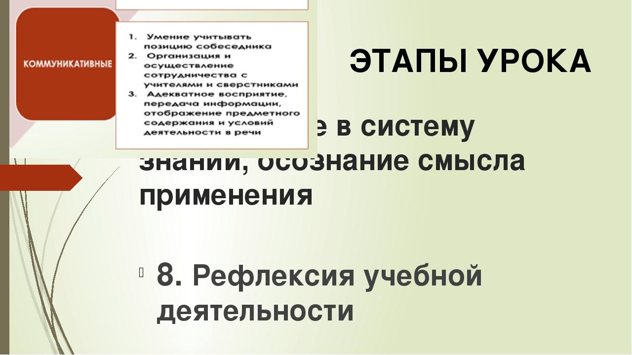 7. Включение в систему знаний, осознание смысла применения 8. Рефлексия учебн...