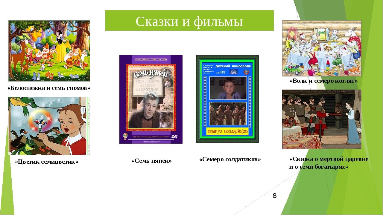 Сказки и фильмы «Белоснежка и семь гномов» «Цветик семицветик» «Волк и семеро...
