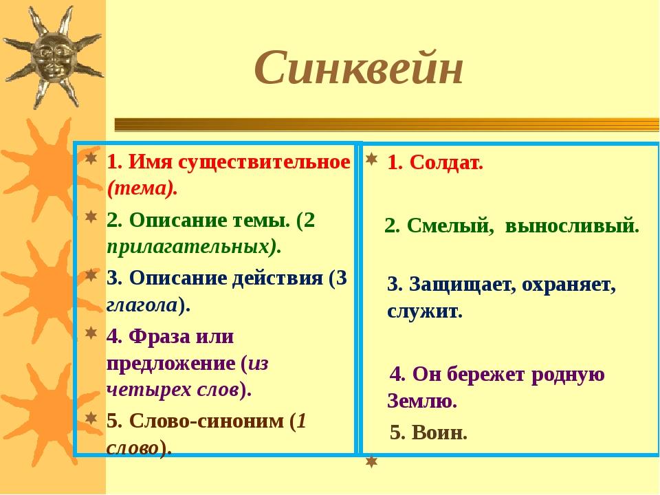 Синквейн 1. Имя существительное (тема). 2. Описание темы. (2 прилагательных)...