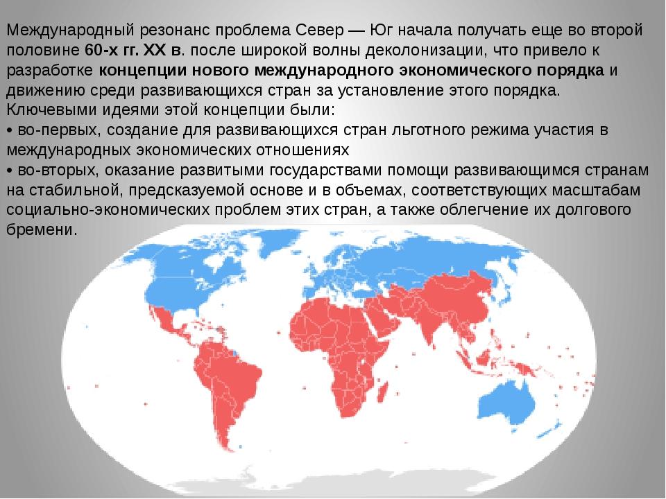 Международный резонанс проблема Север — Юг начала получать еще во второй поло...