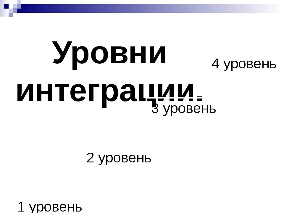 Уровни интеграции. 1 уровень 2 уровень 3 уровень 4 уровень