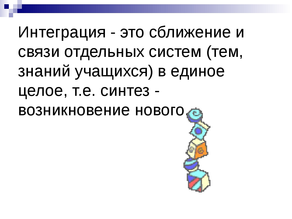 Интеграция - это сближение и связи отдельных систем (тем, знаний учащихся) в...