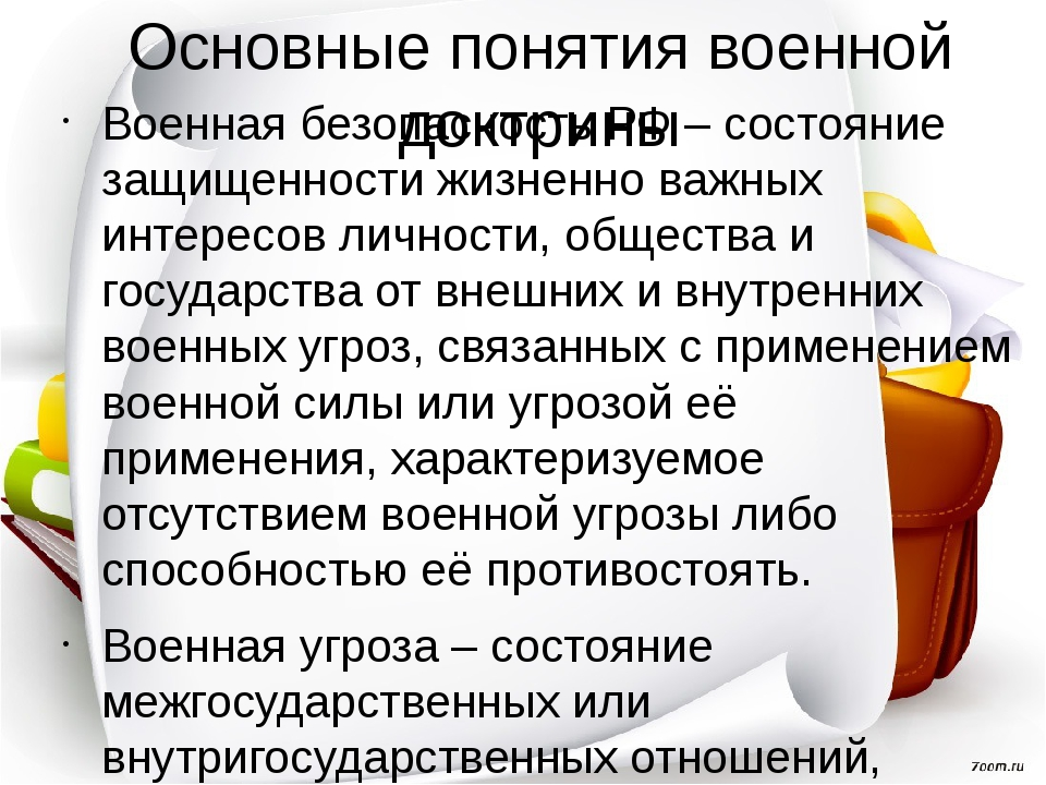 Основные понятия военной доктрины Военная безопасность РФ – состояние защищен...
