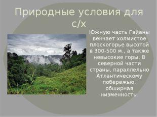 Природные условия для с/х Южную часть Гайаны венчает холмистое плоскогорье вы