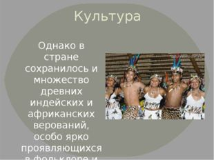 Культура Однако в стране сохранилось и множество древних индейских и африканс