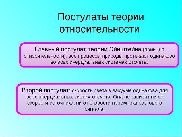 Постулаты теории относительности Главный постулат теории Эйнштейна (принцип о...