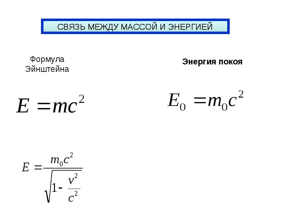 СВЯЗЬ МЕЖДУ МАССОЙ И ЭНЕРГИЕЙ Формула Эйнштейна Энергия покоя
