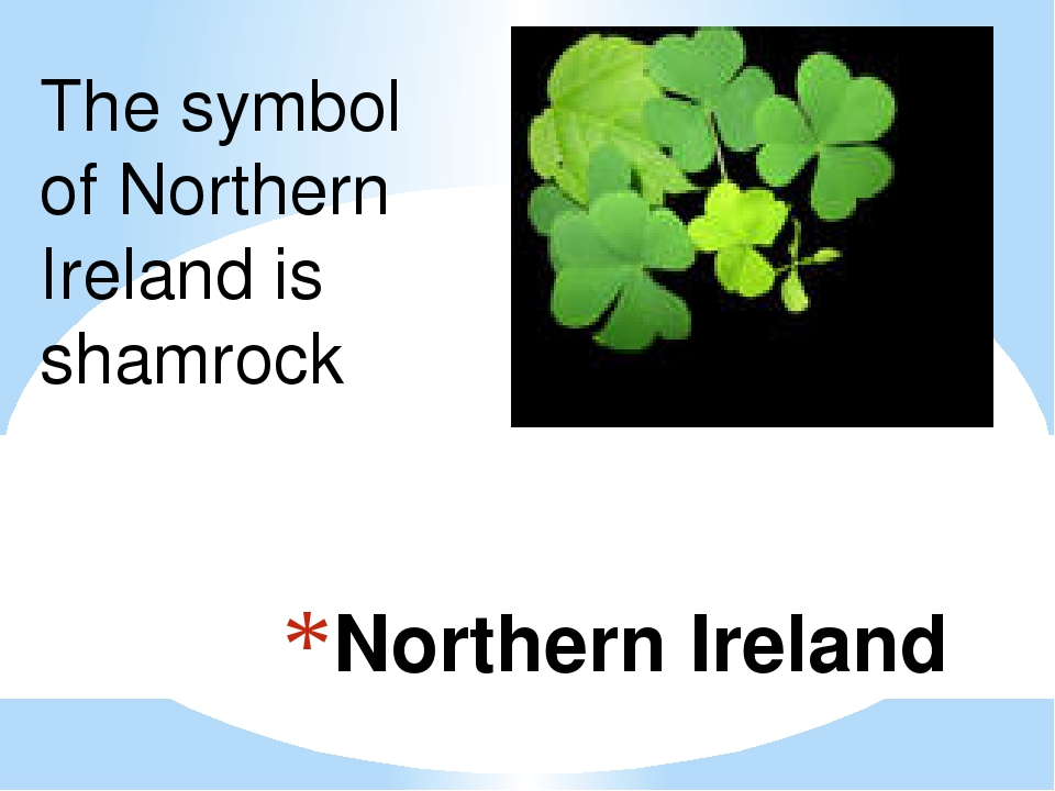 Northern Ireland The symbol of Northern Ireland is shamrock