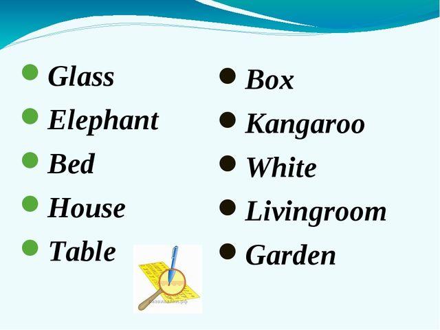 Glass Elephant Bed House Table Box Kangaroo White Livingroom Garden