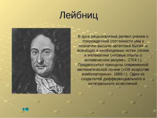 Лейбниц В духе рационализма развил учение о прирожденной способности ума к по
