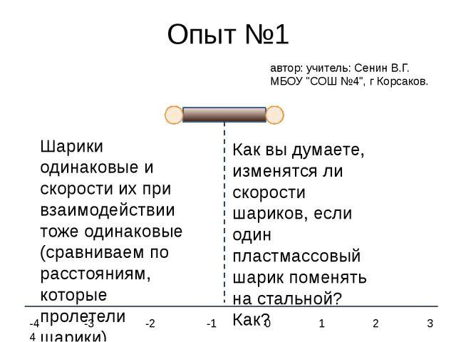 Опыт №1 Шарики одинаковые и скорости их при взаимодействии тоже одинаковые (с...