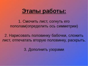 Этапы работы: 1. Смочить лист, согнуть его пополам(определить ось симметрии)
