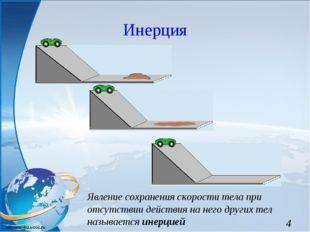 Инерция Явление сохранения скорости тела при отсутствии действия на него друг