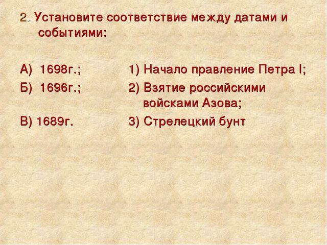2. Установите соответствие между датами и событиями: А) 1698г.; 1) Начало п...