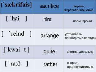 sacrifice hire arrange quite rather жертва, жертвоприношение наем, прокат уст