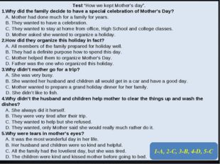 """Test """"How we kept Mother's day"""". 1.Why did the family decide to have a specia"""