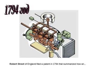 Robert Street of England filed a patent in 1794 that summarized how an...