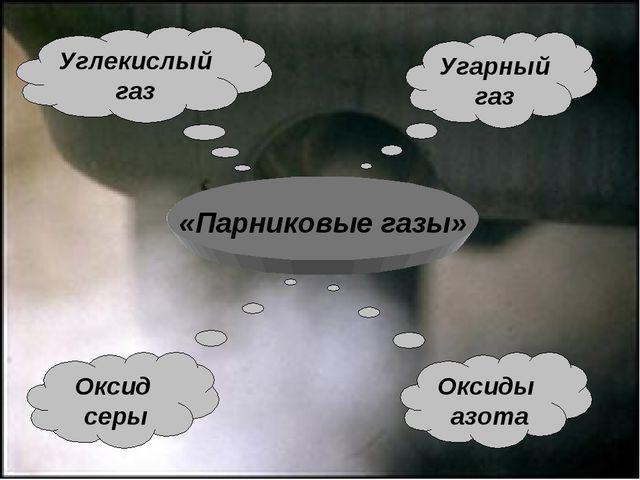 «Парниковые газы» Угарный газ Оксид серы Углекислый газ Оксиды азота