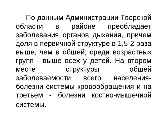 По данным Администрации Тверской области в районе преобладает заболевания о...