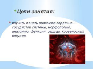 изучить и знать анатомию сердечно - сосудистой системы, морфологию, анатомию,