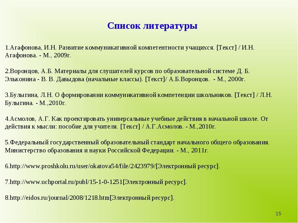 Список литературы 1.Агафонова, И.Н. Развитие коммуникативной компетентности у...