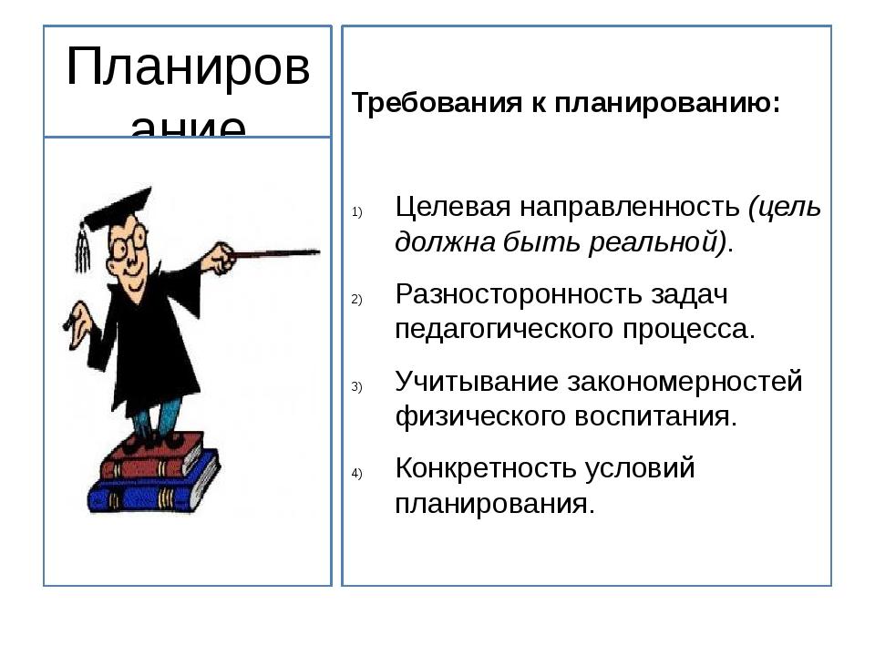 Планирование учебно-воспитательной работы Требования к планированию: Целевая...