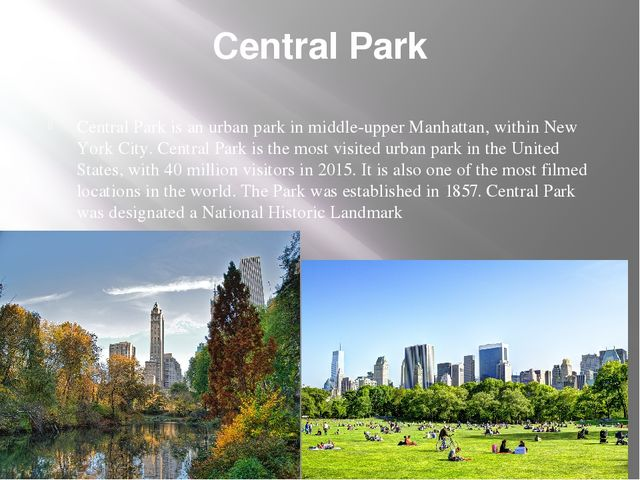 Central Park Central Park is an urban park in middle-upper Manhattan, within...