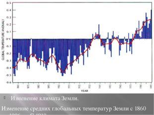 Изменение климата Земли. Изменение средних глобальных температур Земли с 186