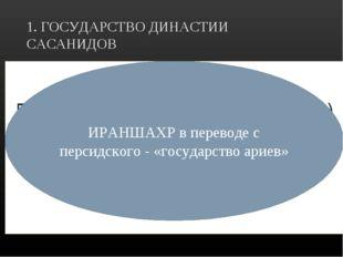 1. ГОСУДАРСТВО ДИНАСТИИ САСАНИДОВ ИРАНШАХ Малая Азия Египет Государство ИРАНШ